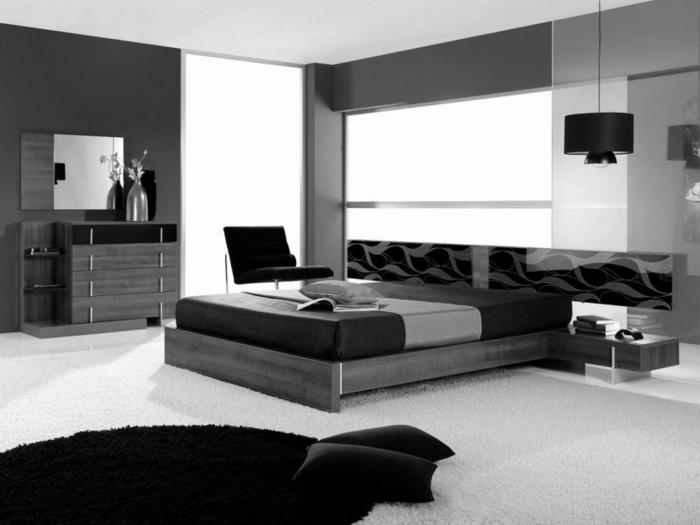 wohnideen schlafzimmer schwarz weiß dunkle wände heller teppich wandspiegel