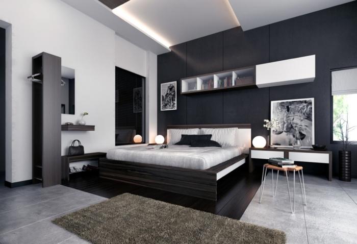 wohnideen schlafzimmer schwarz weiß teppichläufer leuchten weiße wände schwarze akzentwand