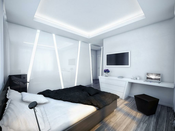 wohnideen schlafzimmer schwarze akzente weiße wände