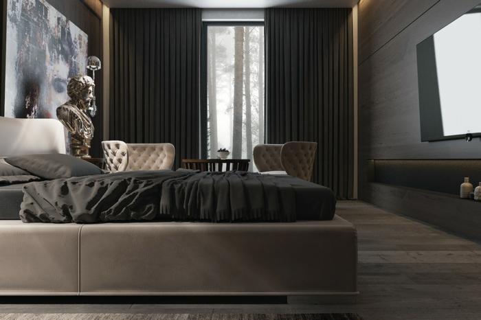 wohnideen schlafzimmer schwarze gardinen bettwäsche wanddeko beiges bett