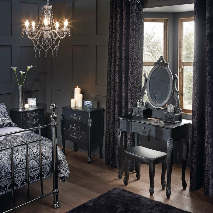 schlafzimmer schwarz 31 beispiele dass schwarze schlafzimmer schick und wohnlich sind. Black Bedroom Furniture Sets. Home Design Ideas