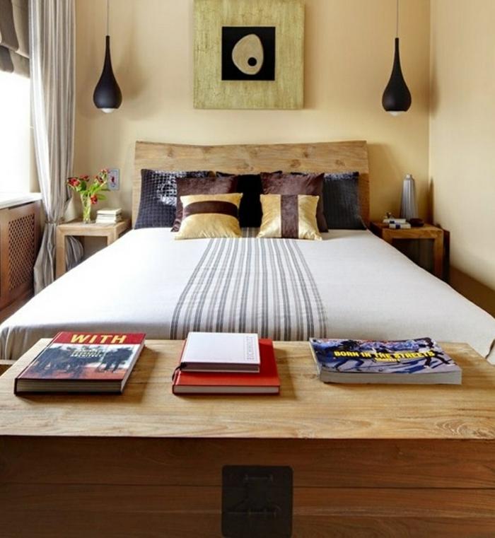 wohnideen schlafzimmer schwarze hängelampen kleines schlafzimmer