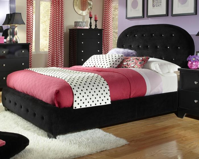 wohnideen schlafzimmer schwarze möbel rote akzente weißer teppich