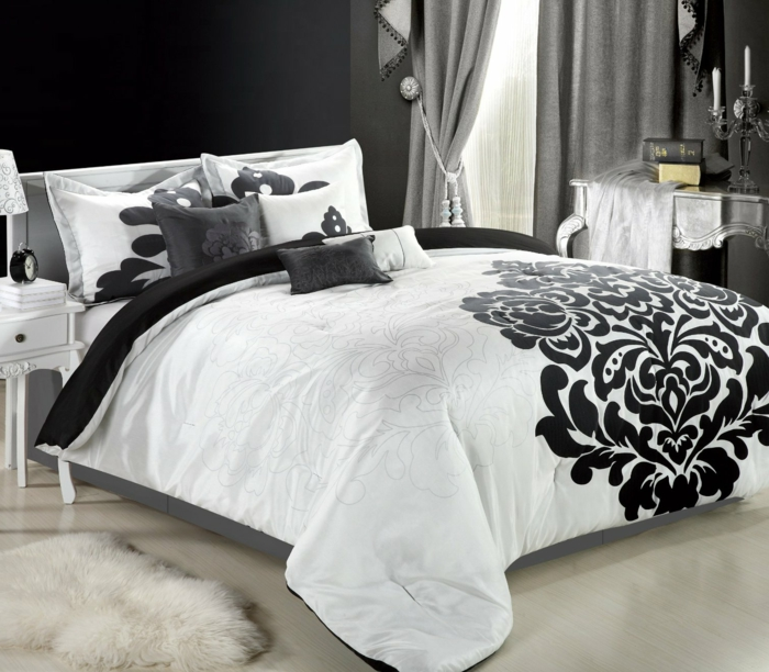 wohnideen schlafzimmer schwarze wände weiße bettwäsche heller boden