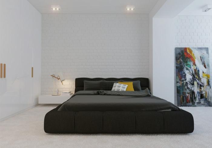 wohnideenschlafzimmer schwarzes bett weißer kleiderschrank deko