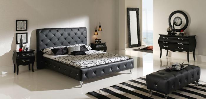 wohnideen schlafzimmer streifenteppich schwarze möbel weiße wände