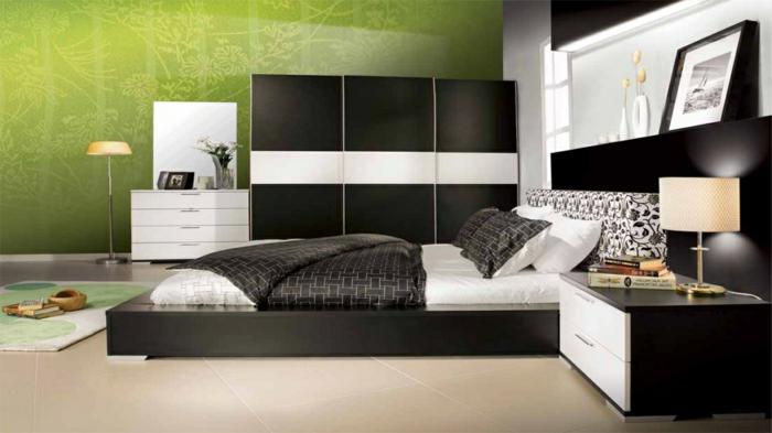 wohnideen schlafzimmer weiß schwarz grüne wände helle nbodenfliesen