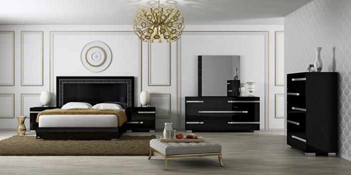 wohnideen schlafzimmer weiße wände schwarze möbel goldene akzente