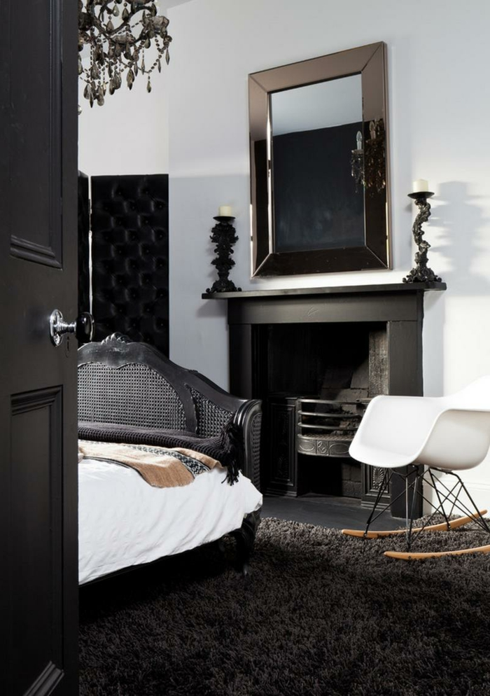 schlafzimmer ideen mit schwarzem bett. Black Bedroom Furniture Sets. Home Design Ideas