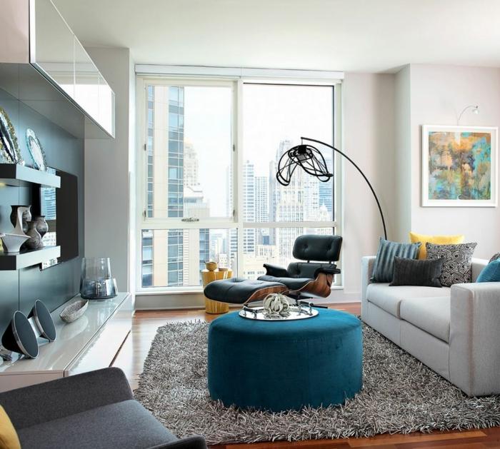 grau grünes wohnzimmer:wohnzimmer couch grüne elemente grauer teppich moderne wohnwand