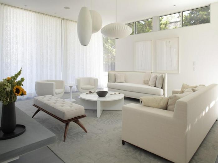 sofa weiß - 35 wohnzimmereinrichtungen mit einem weißen akzent - Wohnzimmer Couch