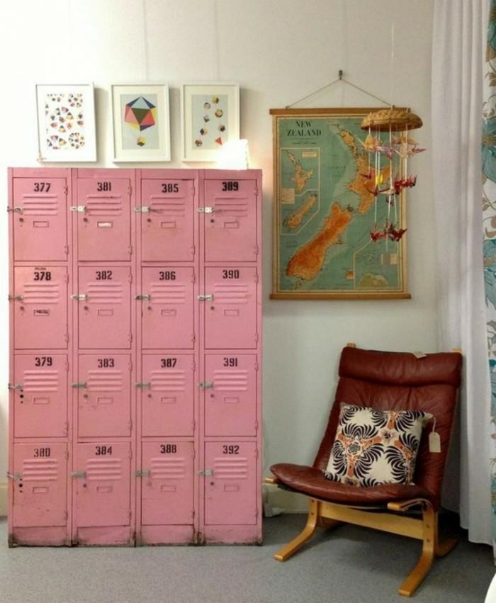 Der Spind kaufen Spinde dreier farbgestaltung widerverwenden tapeten muster schulschließfach kinderzimmer rosa2
