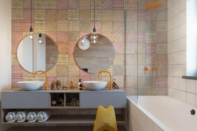 Designer Ideen Kinderzimmer Bad gestalten Badezimmer für Geschwister
