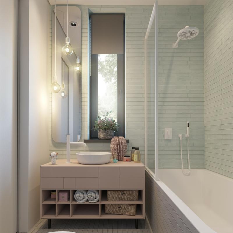 Designer Ideen Kinderzimmer Bad gestalten Wandfarben kombinieren Badfliesen