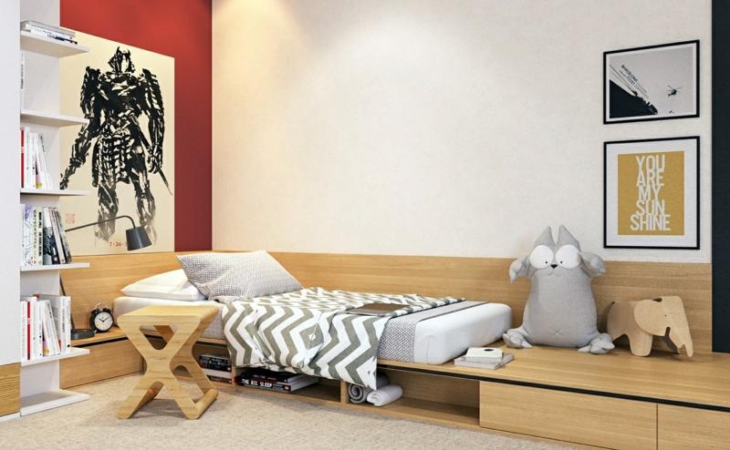 Designer Ideen Kinderzimmer gestalten Junge Holzmöbel