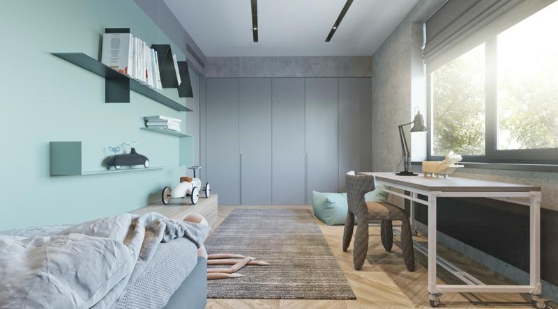 Designer Ideen Kinderzimmer gestalten Wandfarben Blau Lila