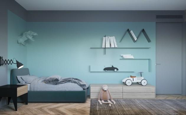 Designer-Ideen-Kinderzimmer-gestalten-Wandfarben-kombinieren-Blau-Lila