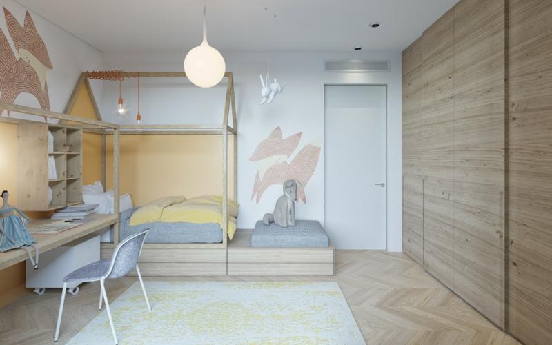 Designer Kinderzimmer Ideen Holzmöbel Wandschrank