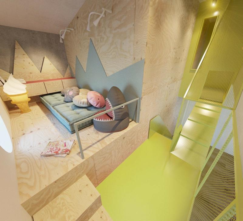 Designer Möbel KinderzimmerIdeen Sessel Haifisch Wandverkleidung Holz
