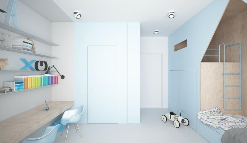 Designer Möbel Kinderzimmer Ideen hellblaue Wandfarbe