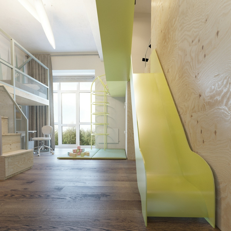 Designer Möbel Kinderzimmer Ideen mit Rutsche