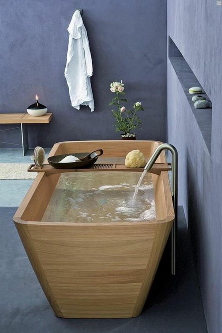 Feng Shui Badezimmer Holz Badewanne Zimmerpflanzen