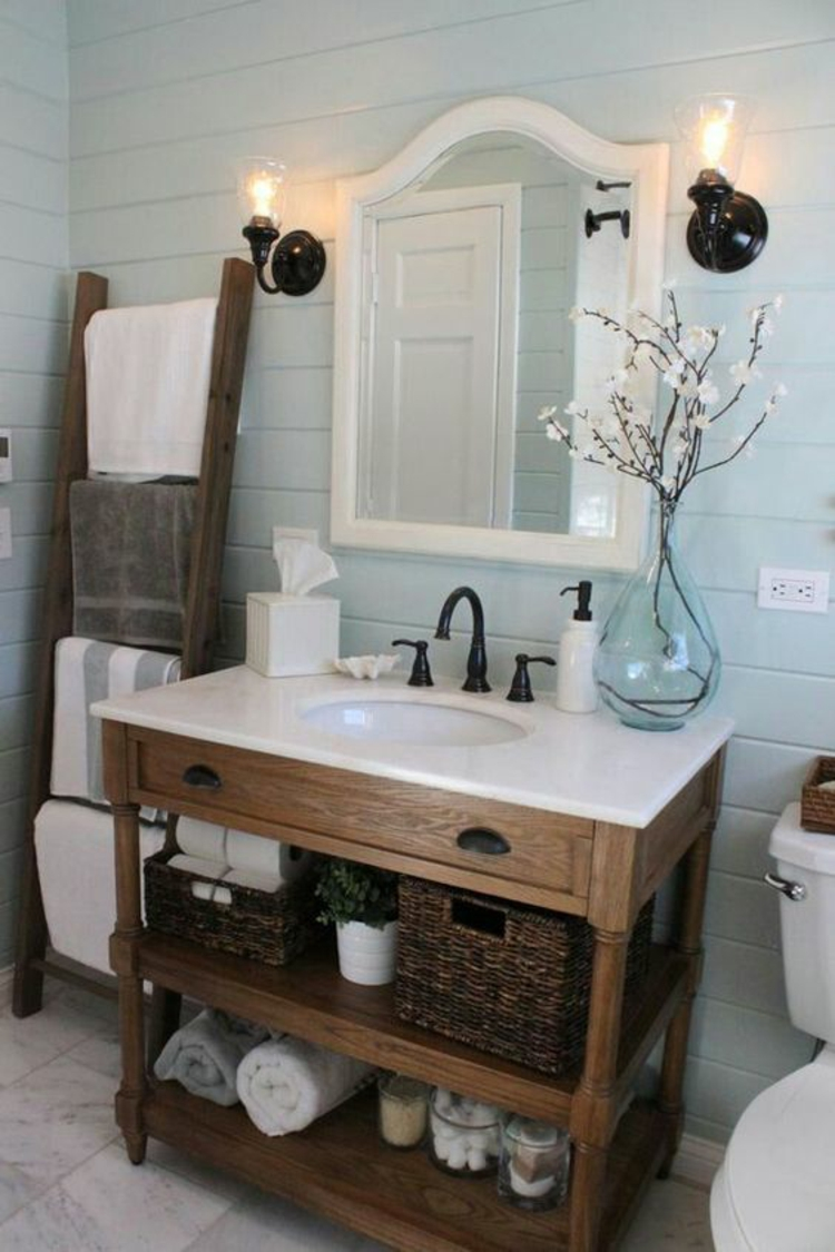 Feng Shui Badezimmer Holzleiter Zimmerpflanzen