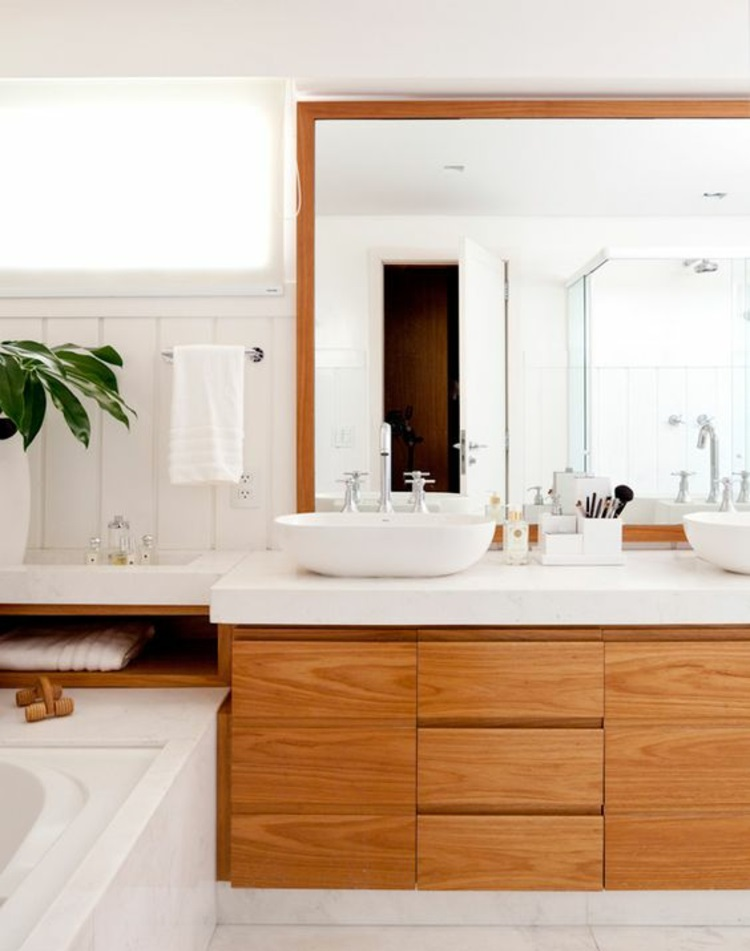 Feng Shui Badezimmer Unterschränke Holz Zimmerpflanzen