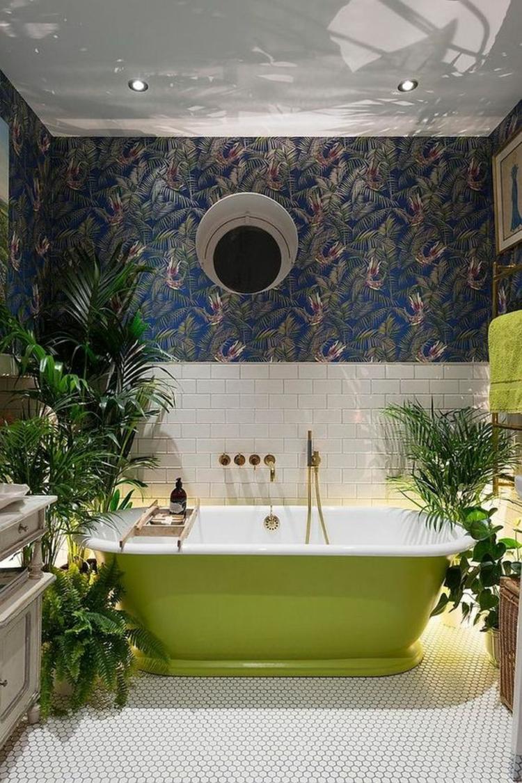 Feng Shui Badezimmer grüne Badewanne Zimmerpflanzen