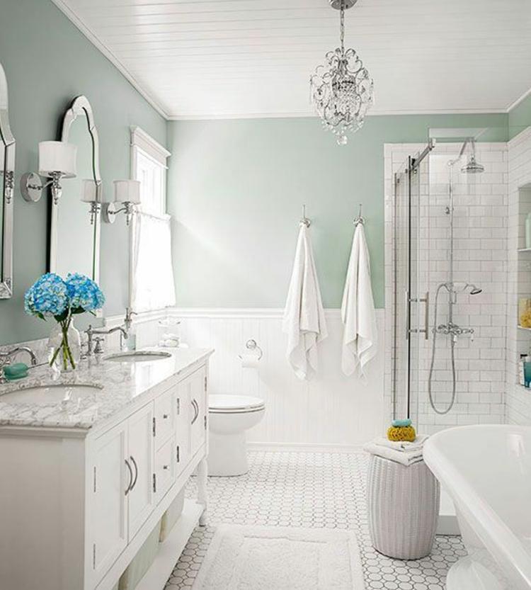 Feng Shui Badezimmer hell mintgrün Zimmerpflanzen