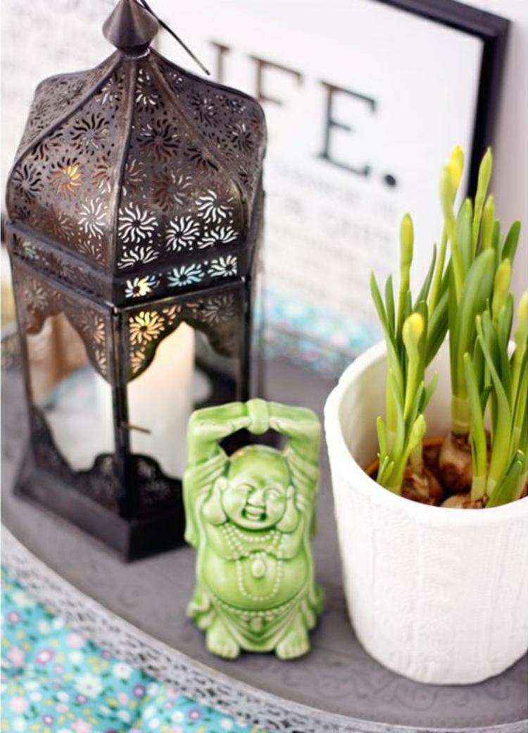 Feng Shui Bilder Zimmerpflanzen Kerze positive Energie