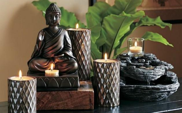 Feng-Shui-Wohnen-Feng-Shui-Glücksbringer-Kerzen-Buddha-Statue