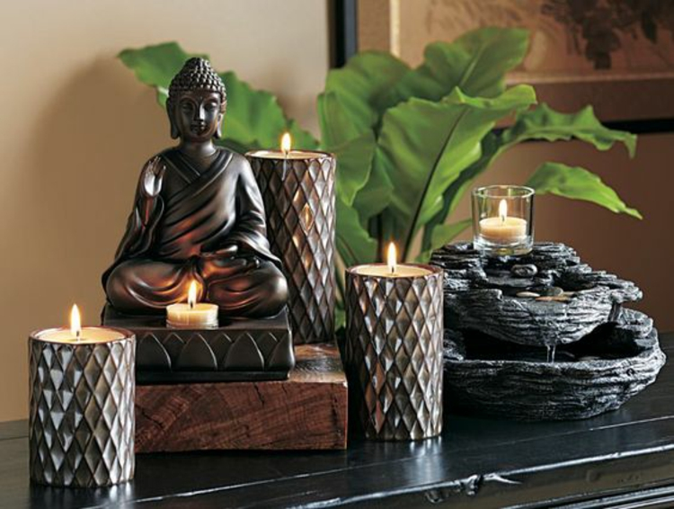 Feng Shui Wohnen Feng Shui Glücksbringer Kerzen Buddha Statue