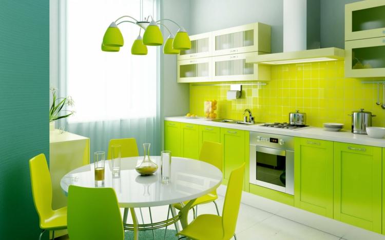 Feng Shui Wohnen Küche Wandfarbe leuchtendes Grün