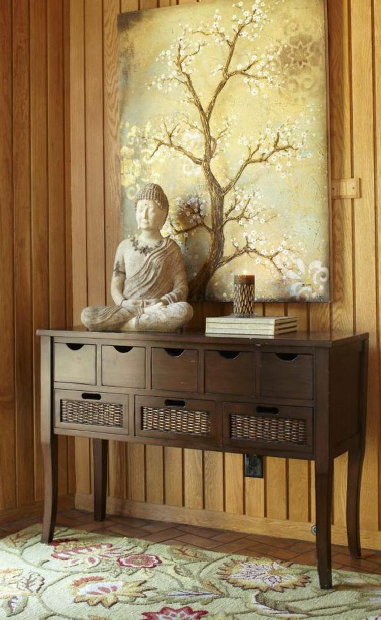 Feng Shui Wohnen Wanddekoration Buddha Statue Holzwand