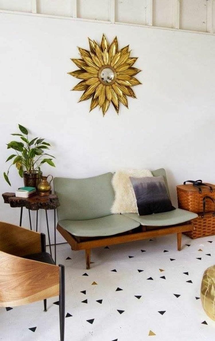 Feng Shui Wohnen Wandspiegel Sonne Wanddeko glänzend