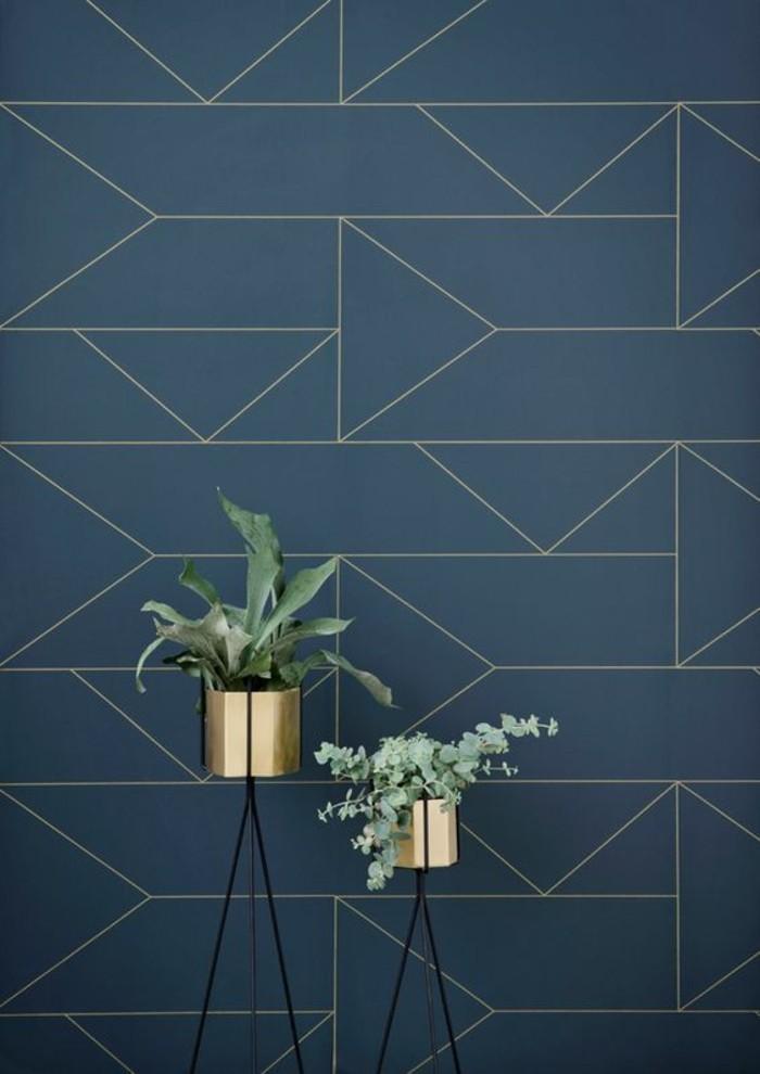 Fliesen Wandfliesen dunkelblau Wandgestaltung Zimmerpflanzen