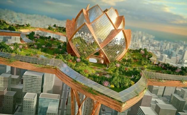Futuristische-Architektur-Bauen-und-Leben-Cities-Sky