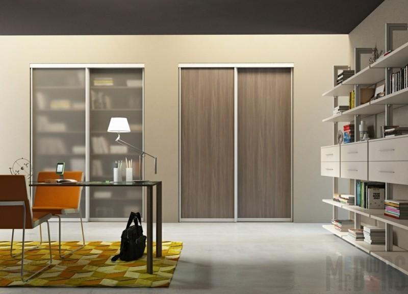 Kleiderschränke mit Schiebetüren Holz durchsichtige Türen