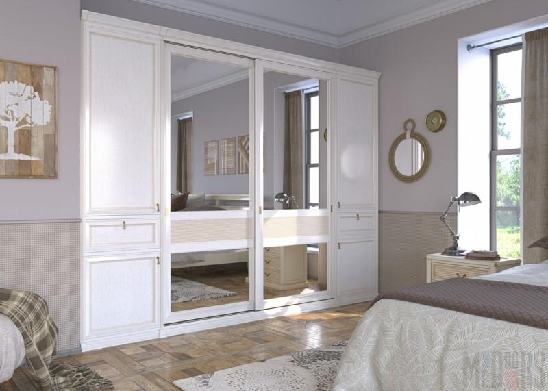 Kleiderschränke mit Schiebetüren Holz weiß schick Spiegeltüren Schlafzimmer