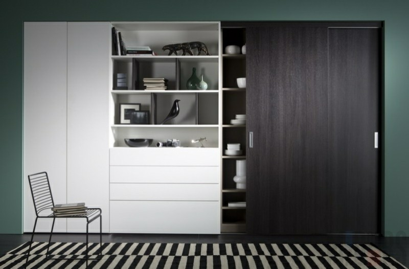 kleiderschr nke mit schiebet ren 50 ideen f r einen. Black Bedroom Furniture Sets. Home Design Ideas