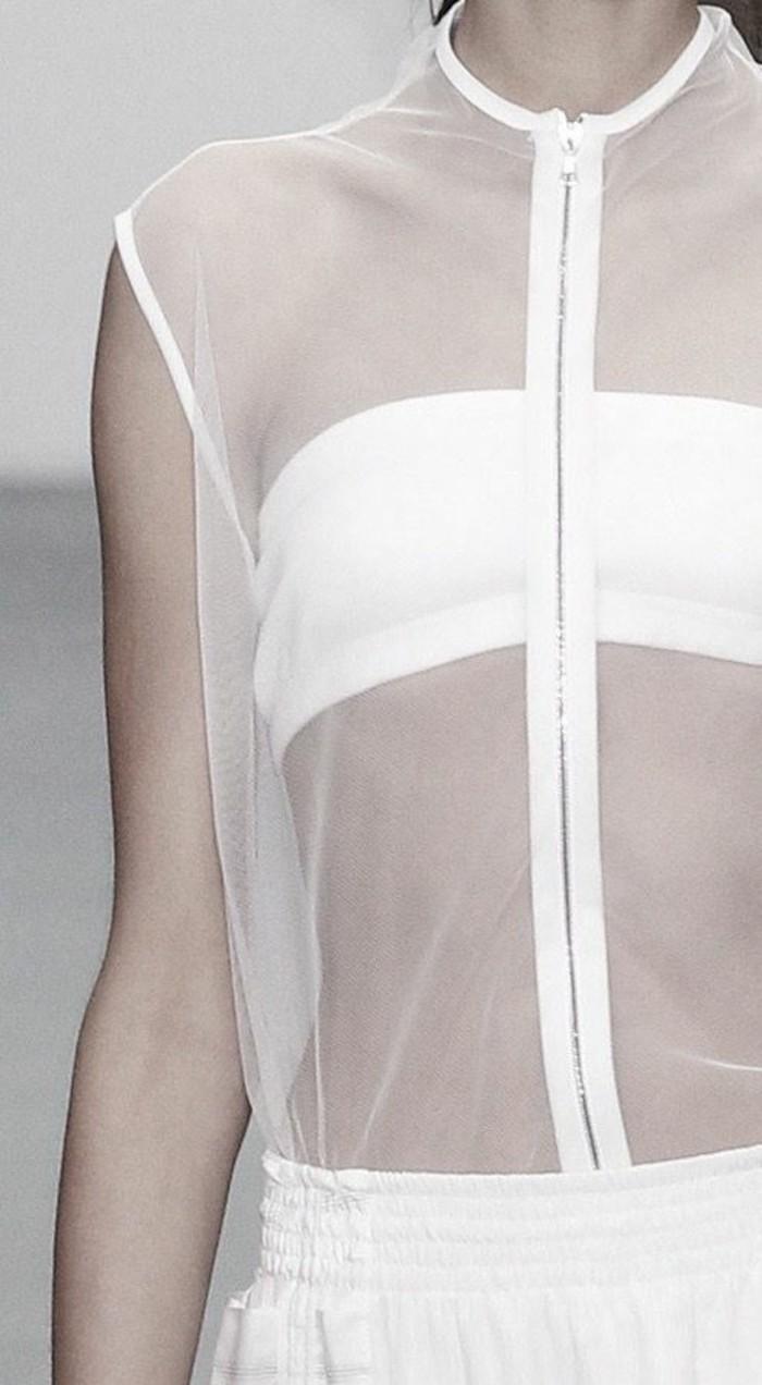 Modetrends Damen transparente Kleider Top mit Reißverschluss