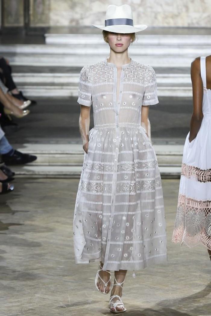 Modetrends Laufstegmode durchsichtiges Kleid weiß