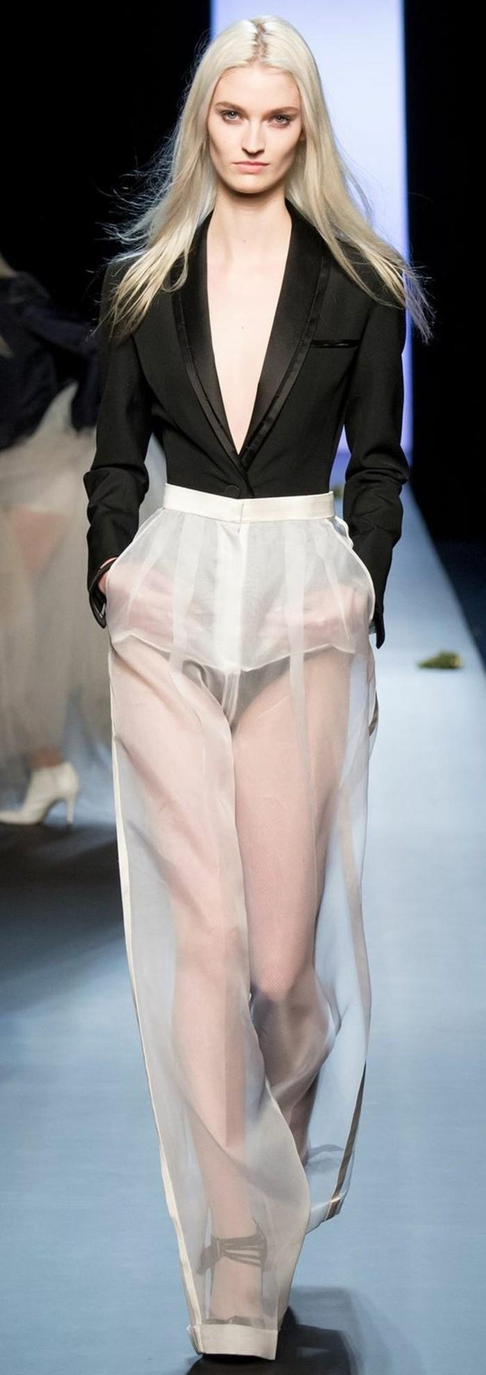 Modetrends durchsichtige Kleider Hose Laufstegmode