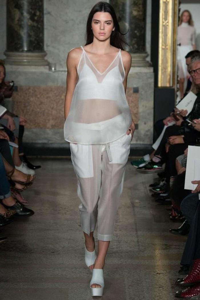Modetrends durchsichtige Kleider Hose Top Laufstegmode