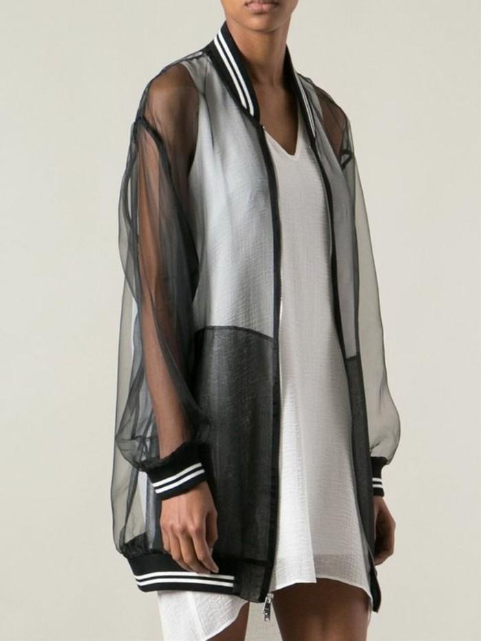 Modetrends durchsichtige Kleider Jacke sportlich transparente Ärmel und Rücken