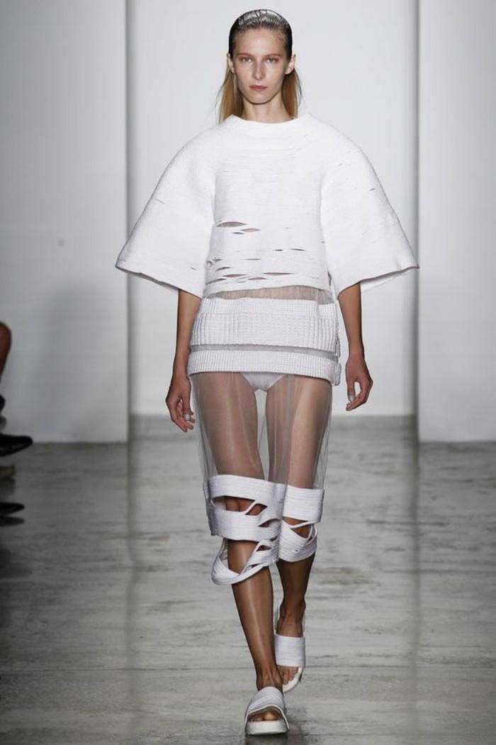 Modetrends durchsichtige Kleider Rock weiß
