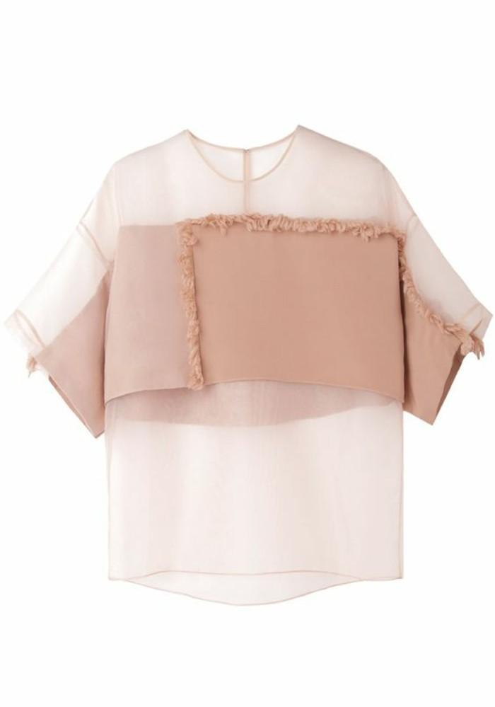 Modetrends durchsichtige Kleider T Shirt beige