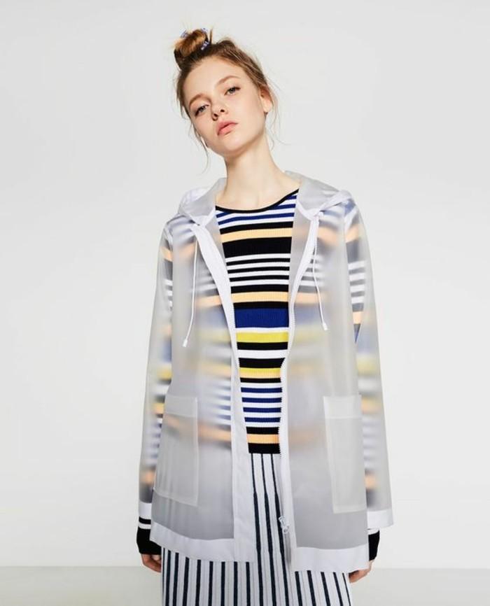 Modetrends durchsichtige Kleider Zara Mantel weiß transparent