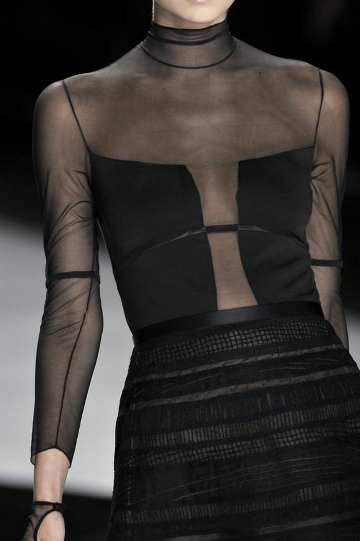 Modetrends elegantes schwarzes durchsichtiges Kleid